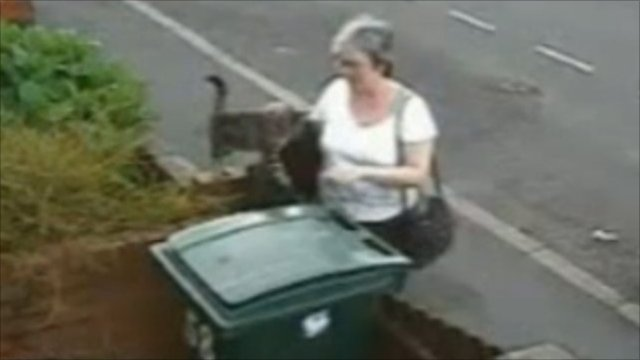CCTV images of the cat being put in the bin