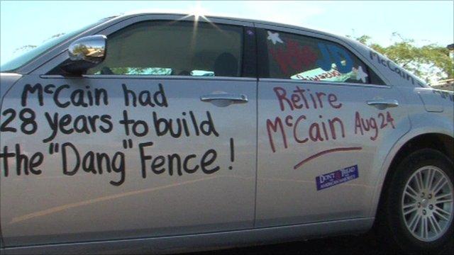A car daubed in anti-McCain slogans
