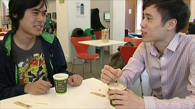 Students Yun William Yu (left) and Herman Tam at London's Imperial College
