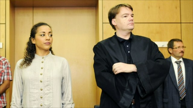 German pop star Nadja Benaissa and her lawyer Oliver Wallasch