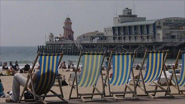 Sun-loungers on a beach