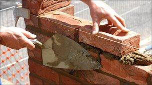 Bricklayer at work