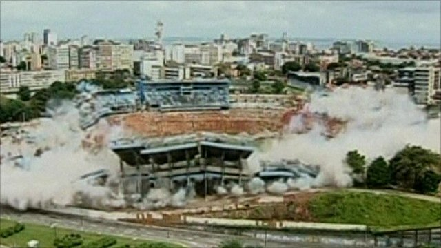 The stadium imploding