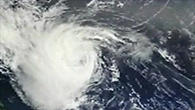 A satellite image of Hurricane Earl