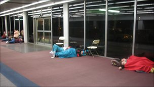 Passengers sleeping at Ontario airport, California