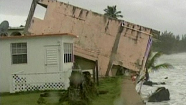 Hurricane Earl damage to a building in Puerto Rico