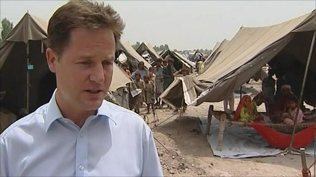 Nick Clegg in a flood relief camp in Sukkur