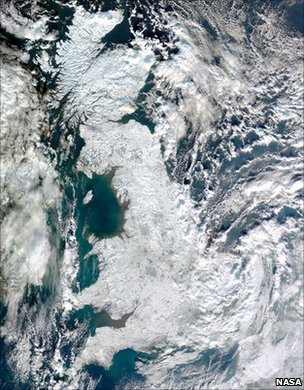 Satellite image showing snow-covered United Kingdom in January 2010