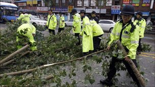 Police remove a fallen tree in Seoul on 2 September 2010