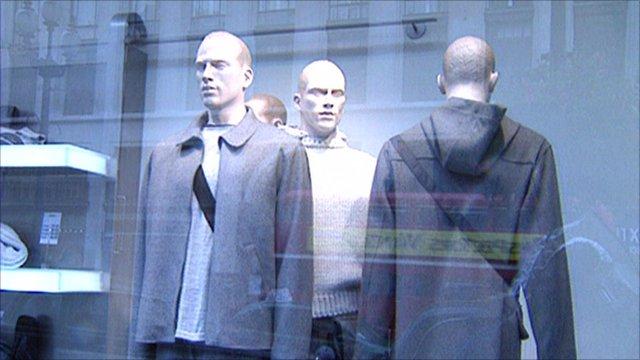 Mannequins in shop window