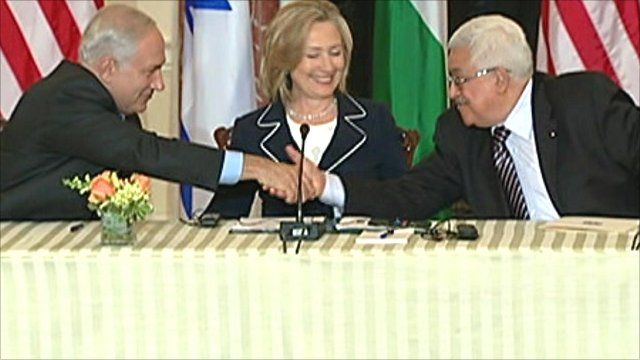 The two leaders shake hands