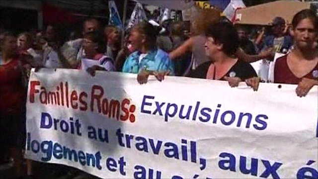 People in France protesting against the Roma deportations