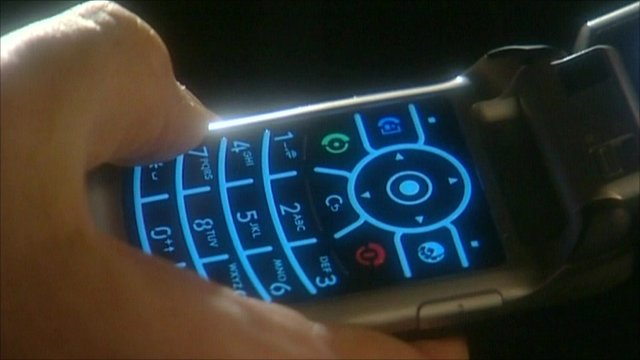 A mobile phone being used