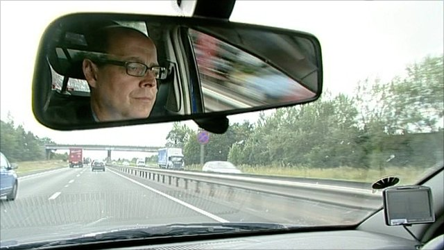 The BBC's Nick Robinson driving down the A1