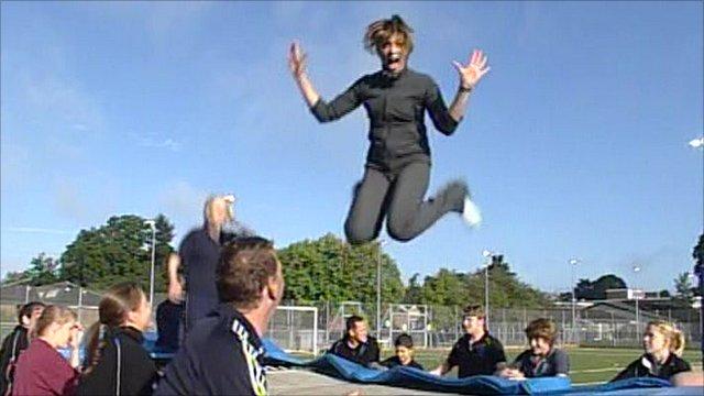 Kate Silverton trampolining
