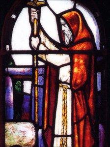 Stainglass image of St Ninian (Courtesy of the Catholic Church)