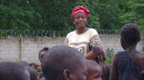 Zainab Bangura with some children