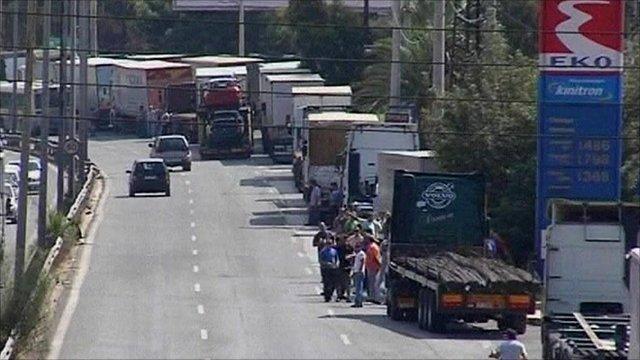 Trucks parked up along Greek motorway