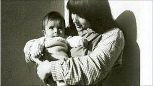 Ursula Biondi with her baby son in prison, 1967