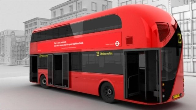 A graphic image of the new London bus