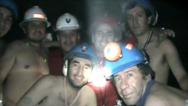 A group of miners posing for the camera