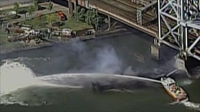 Firefighters battled the blaze