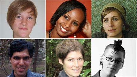 The six writers shortlisted for the 2010 Dylan Thomas Prize - from top left Caroline Bird; Nadifa Mohamed; Eleanor Catton; Karan Mahajan; Elyse Fenton; Emilie Mackie