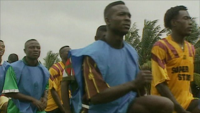 Footballers in training