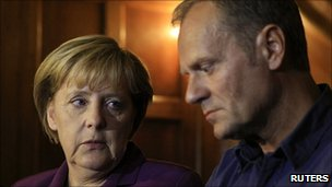 Angela Merkel and Donald Tusk in Berlin. 26 Sept 2010
