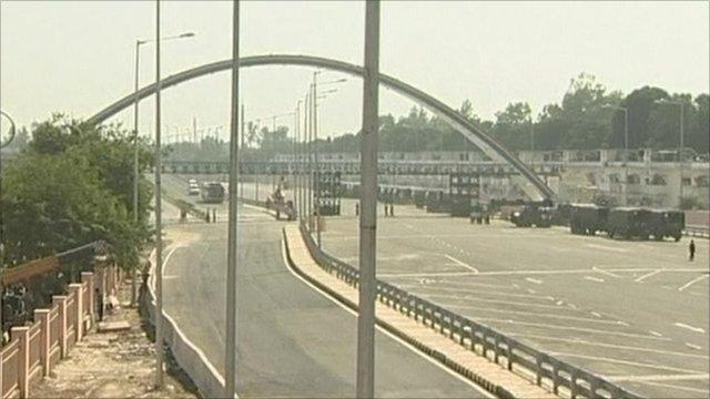 Army building bridge outside Games centre