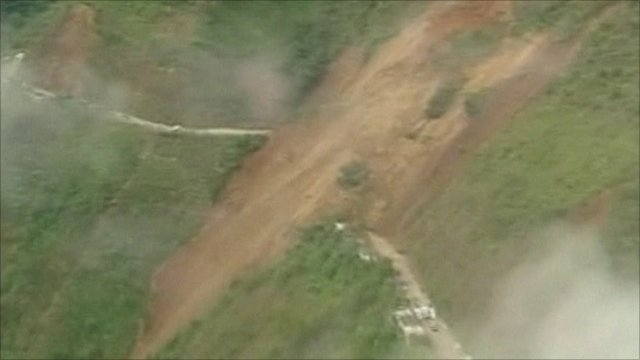 The landslide engulfing the mountain road