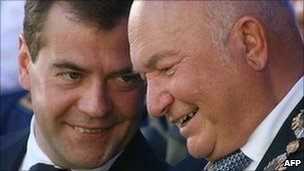 Russian President Dmitry Medvedev (left) and Moscow Mayor Yuri Luzhkov (right), in a file photo from September 2008