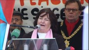 Mairead Maguire at a peace rally in Belfast