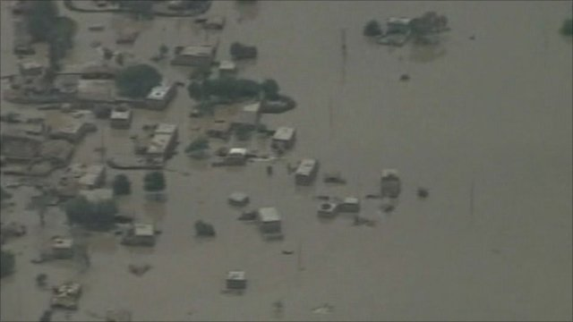 Aerials pictures of floods in Pakistan