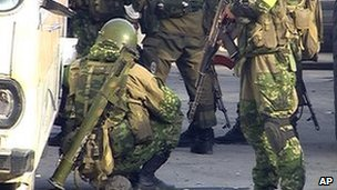Russian paramilitary police deploy in Makhachkala, Dagestan, 25 September
