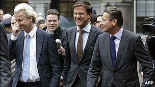 From left, Geert Wilders, Mark Rutte and Maxime Verhagen in The Hague. 30 Sept 2010
