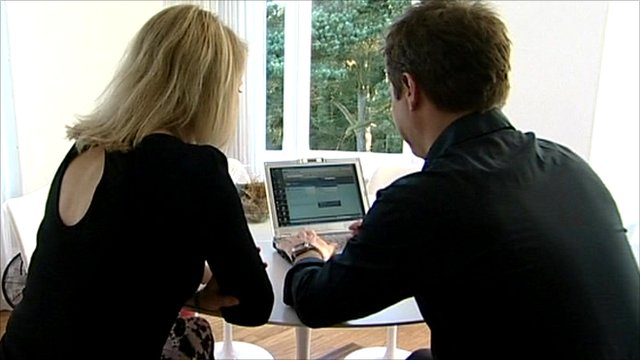 Couple looking online