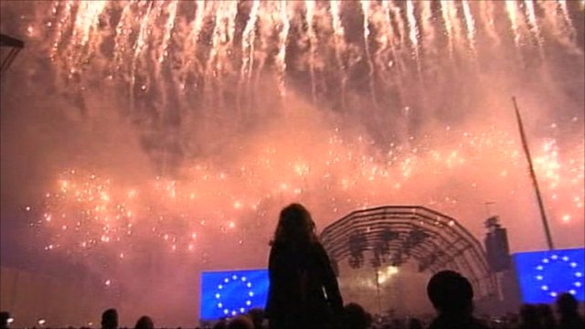 A fireworks display in Berlin marks the anniversary