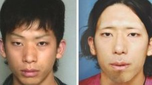 Tatsuya Ichihashi (l) and a picture of what Japanese police believe he looked like after surgery, pic courtesy of Japanese police