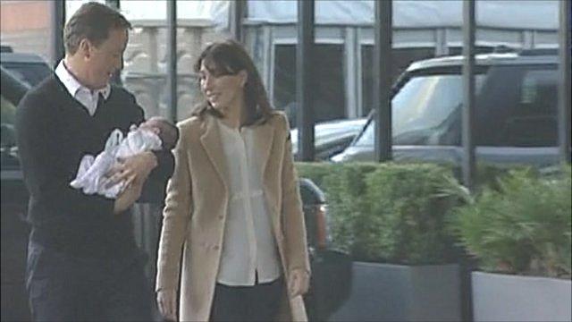 David and Samantha Cameron with baby Florence