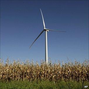 Wind turbine in crop field