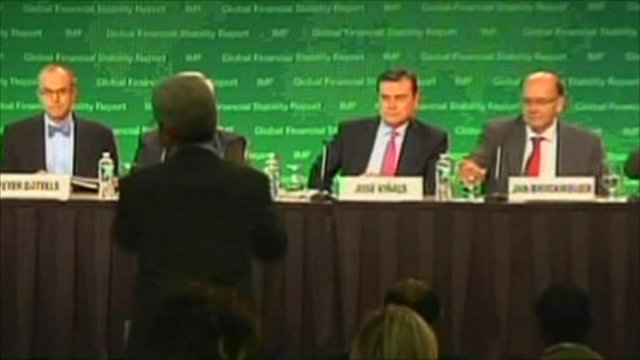 Still from an IMF news conference