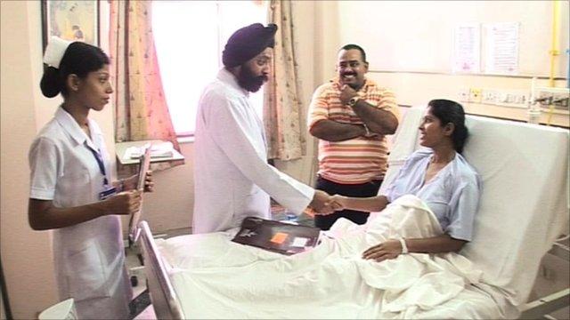 A hospital room in Delhi