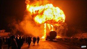 Oil tankers ablaze in Nowshera, 06/10