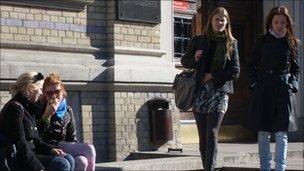 Female students outside the University of Latvia