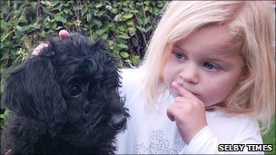 Evie Gatenby and puppy - courtesy of Selby Times