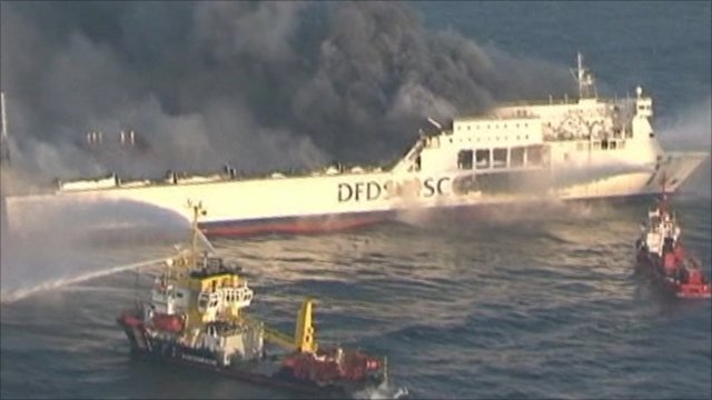 Ferry on fire in Baltic Sea