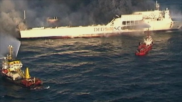 Baltic Sea ferry fire being tackled