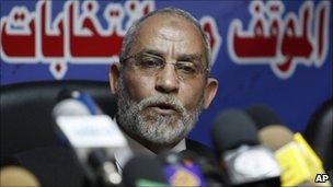 Leader of Egypt's Muslim Brotherhood, Mohammed Badie, press conference (9 Oct 2010)