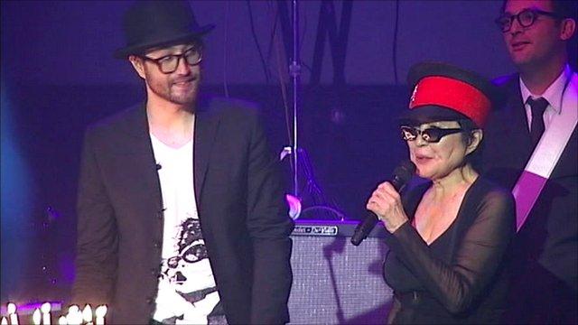 Yoko Ono and her son Sean Ono Lennon